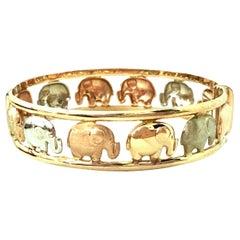 20th Century Italian 9K Rose, Yellow & White Gold Elephant Bangle Bracelet