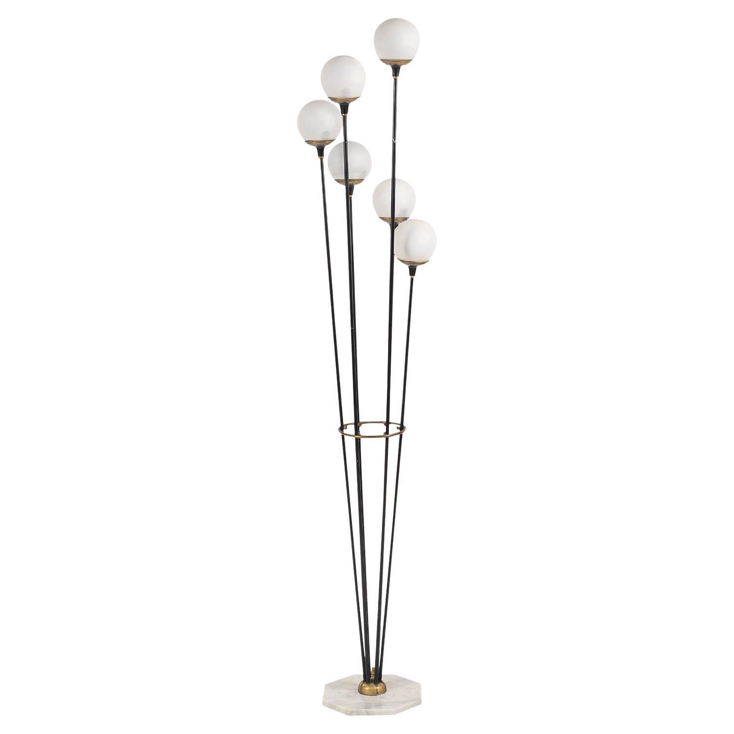 20th Century Italian Alberello Marble, Opaline Glass Floor Lamp by Stilnovo