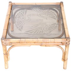 20th Century Italian Art Deco Bamboo and Decorated Glass Sofa Table, Side Table