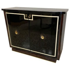 20th Century Italian Art Deco Black Lacquered Sideboard