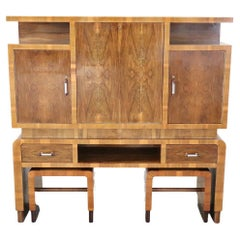 20th Century Italian Art Deco Large Bar Cabinet with Two Stools, 1930s