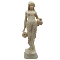 20th Century Italian Art Deco Sculpture White Alabaster Woman Carryng Water