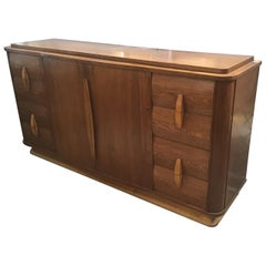 20th Century Italian Art Deco Teak Wood Cupboard with Drawers and Shutters