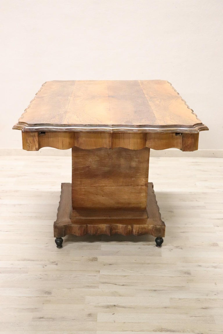 French 20th Century Italian Art Deco Walnut Burl Dining Table or Center Table For Sale