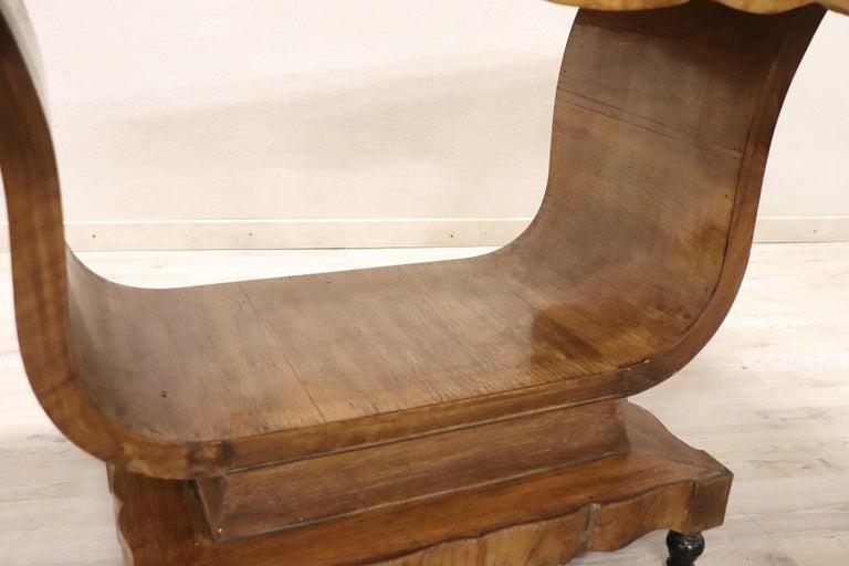 Mid-20th Century 20th Century Italian Art Deco Walnut Burl Dining Table or Center Table For Sale