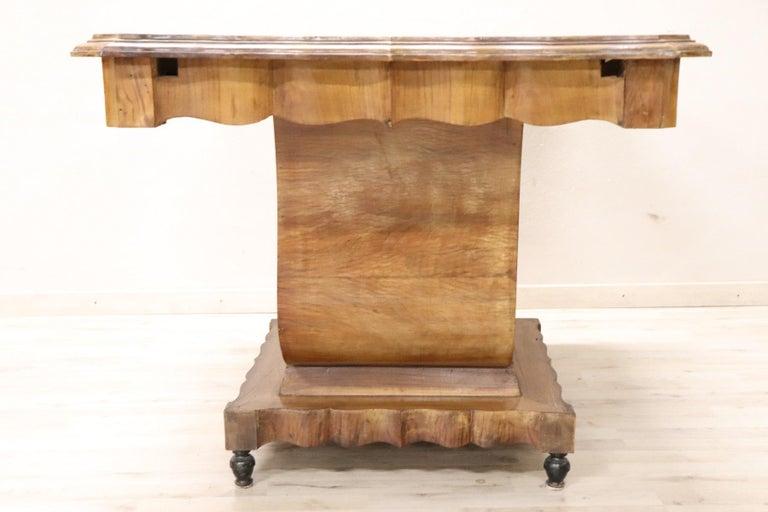 20th Century Italian Art Deco Walnut Burl Dining Table or Center Table For Sale 2