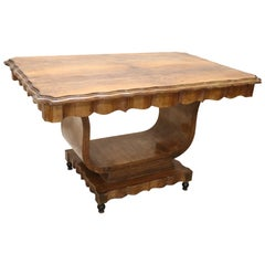 20th Century Italian Art Deco Walnut Burl Dining Table or Center Table