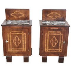 20th Century Italian Art Deco Walnut Inlaid Pair of Nightstands with Marble Top