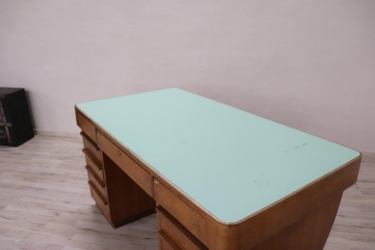 Mid-20th Century 20th Century Italian Art Deco Writing Desk in Walnut Veneered and Glass Top For Sale