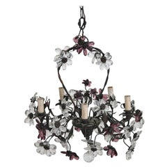20th Century Italian Art Nouveau Bronze and Murano Glass Flowers Chandelier