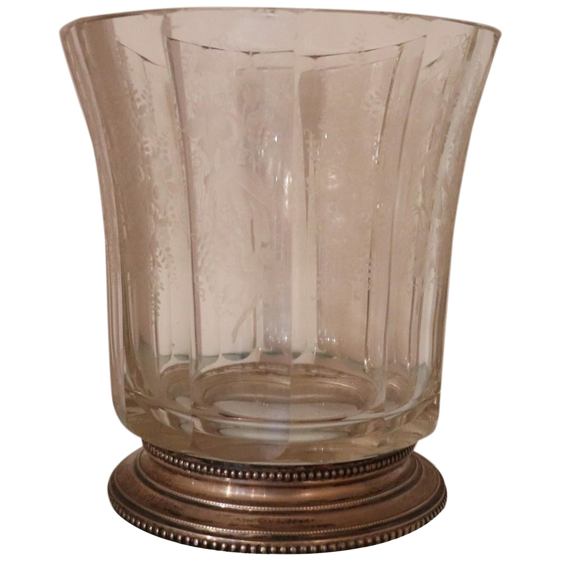 20th Century Italian Art Nouveau Crystal and Silver Vase, 1920s