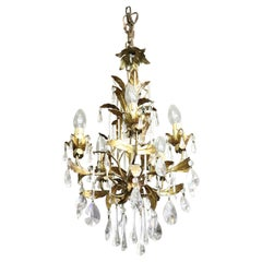 20th Century Italian Art Nouveau Gilded Bronze and Crystals Chandelier