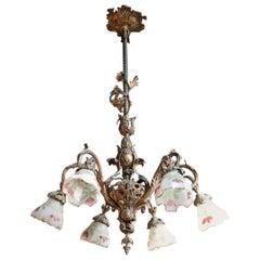 20th Century Italian Art Nouveau Gilded Bronze Chandelier