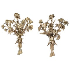 20th Century Italian Art Nouveau Pair of Candle Sconces in Gilded Bronze 5 Arms