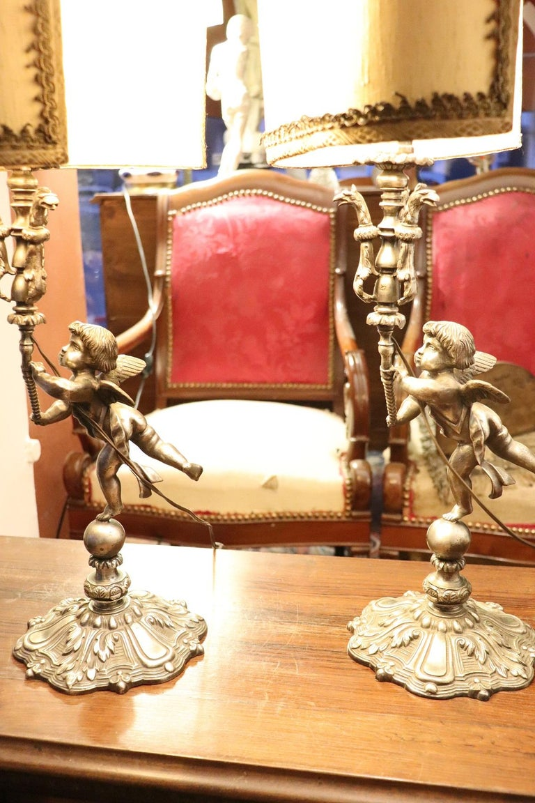 20th Century Italian Art Nouveau Silvered Bronze Pair of Table Lamp For Sale 1