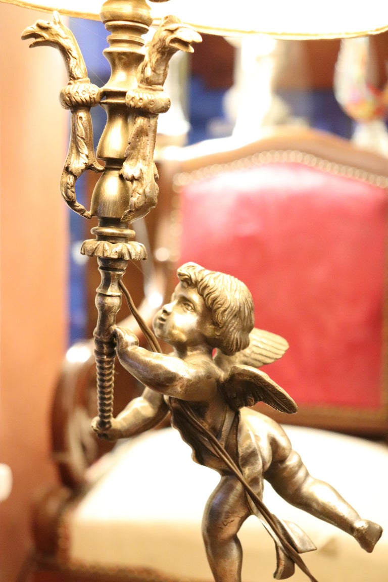 20th Century Italian Art Nouveau Silvered Bronze Pair of Table Lamp For Sale 2