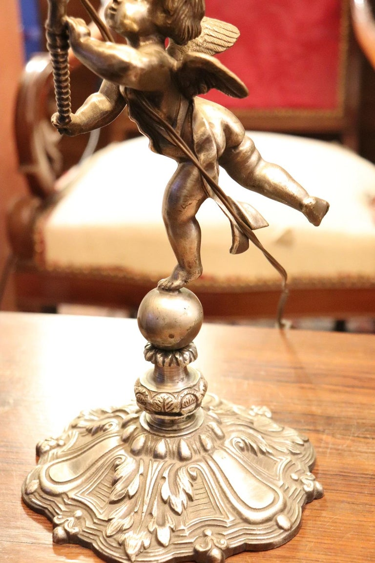 20th Century Italian Art Nouveau Silvered Bronze Pair of Table Lamp For Sale 3