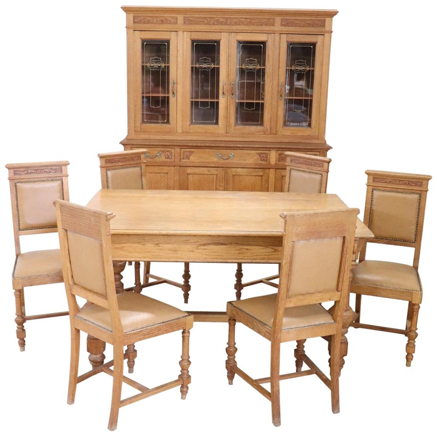 20th Century Italian Art Nouveau Solid Chestnut Wood Dining Room Set 8 Pieces For Sale At 1stdibs