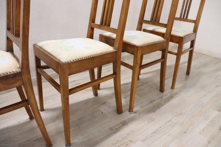 20th Century Italian Art Nouveau Style Walnut Wood Chairs, Set of Six 4