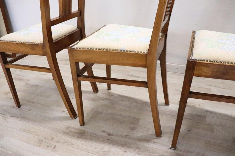 20th Century Italian Art Nouveau Style Walnut Wood Chairs, Set of Six 5