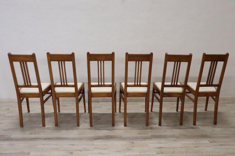 20th Century Italian Art Nouveau Style Walnut Wood Chairs, Set of Six 6