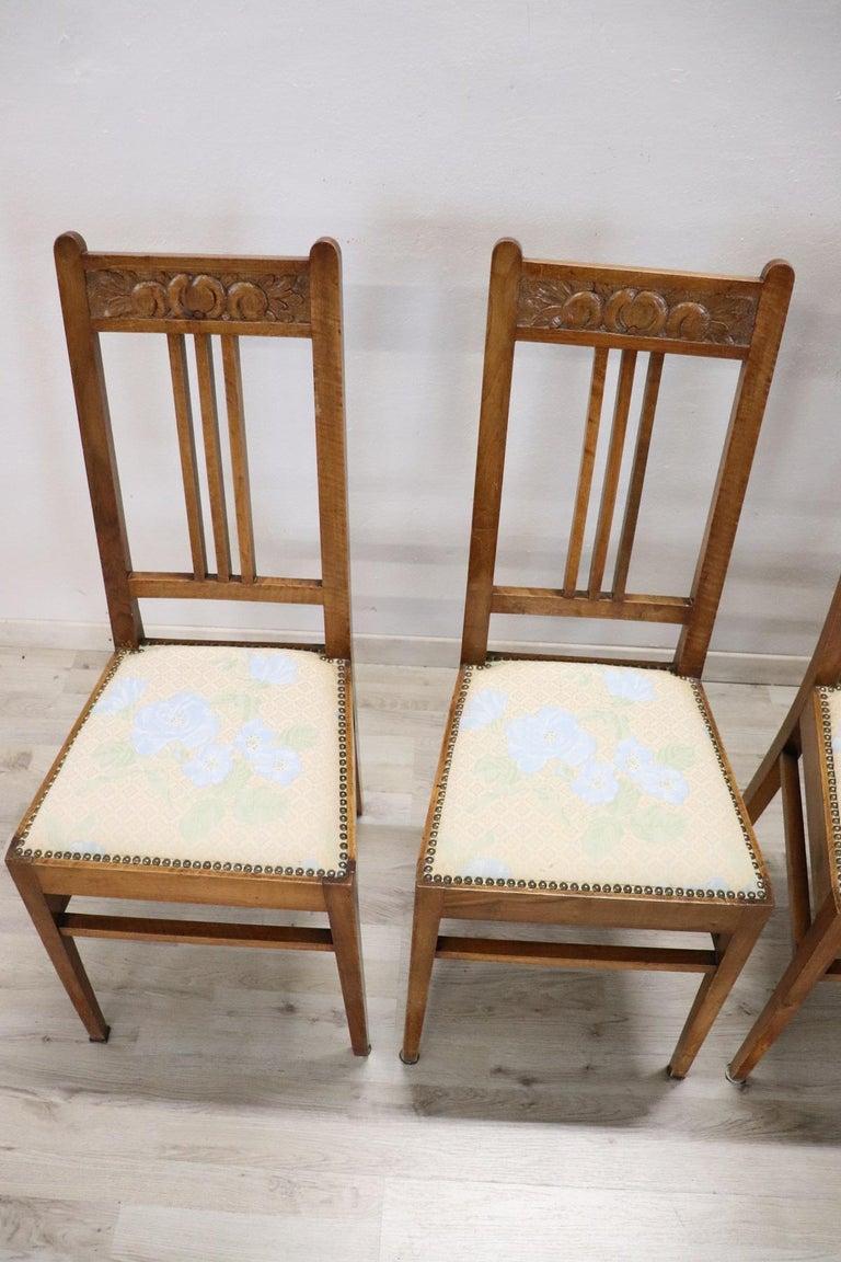 Louis XIV 20th Century Italian Art Nouveau Style Walnut Wood Chairs, Set of Six