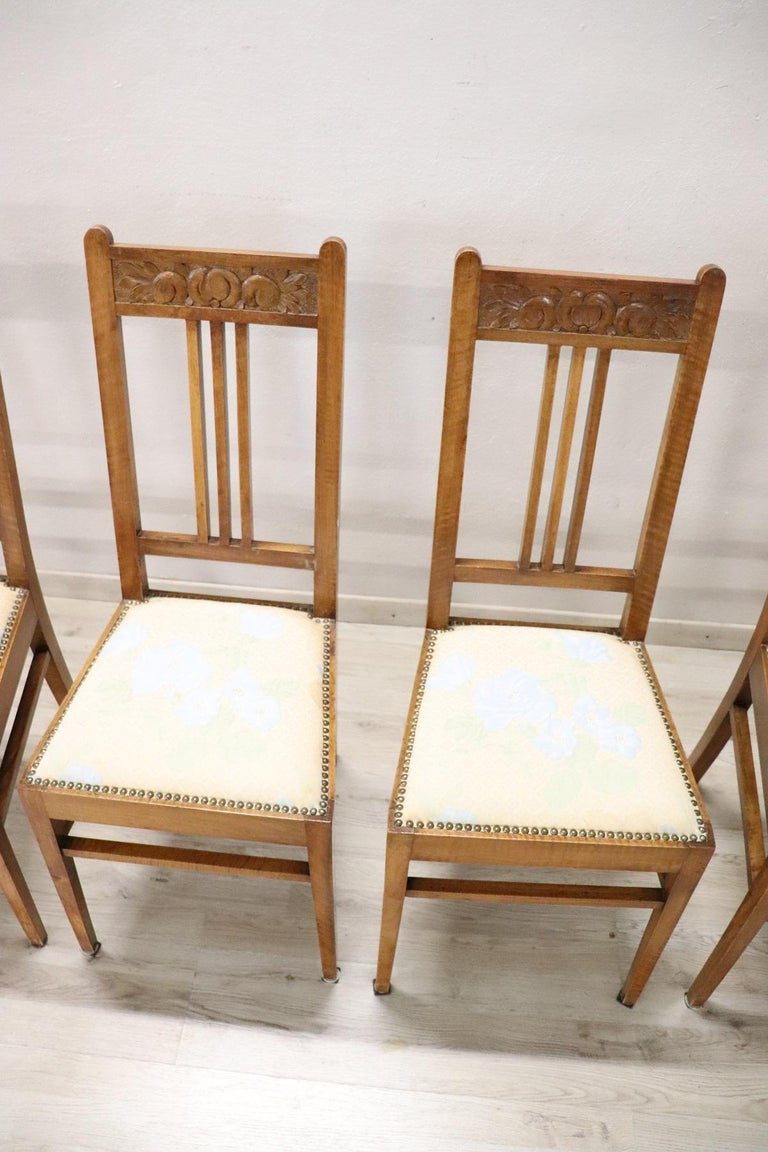 Carved 20th Century Italian Art Nouveau Style Walnut Wood Chairs, Set of Six