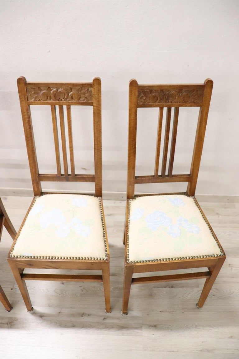 20th Century Italian Art Nouveau Style Walnut Wood Chairs, Set of Six In Excellent Condition In Bosco Marengo, IT