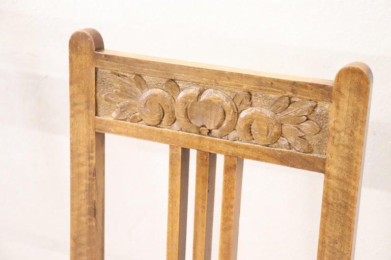 Early 20th Century 20th Century Italian Art Nouveau Style Walnut Wood Chairs, Set of Six