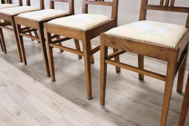 20th Century Italian Art Nouveau Style Walnut Wood Chairs, Set of Six 1