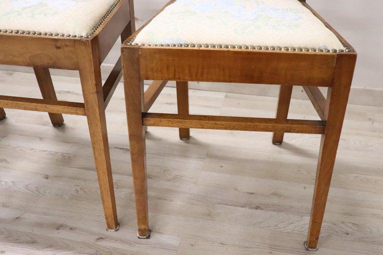 20th Century Italian Art Nouveau Style Walnut Wood Chairs, Set of Six 2