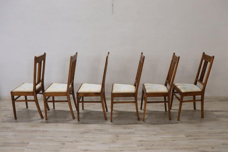 20th Century Italian Art Nouveau Style Walnut Wood Chairs, Set of Six 3