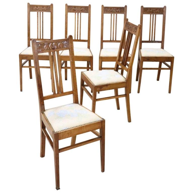 20th Century Italian Art Nouveau Style Walnut Wood Chairs, Set of Six