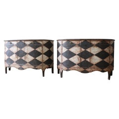 20th Century Italian Artist Hand Painted Decoration Pair of Rounded Sideboard