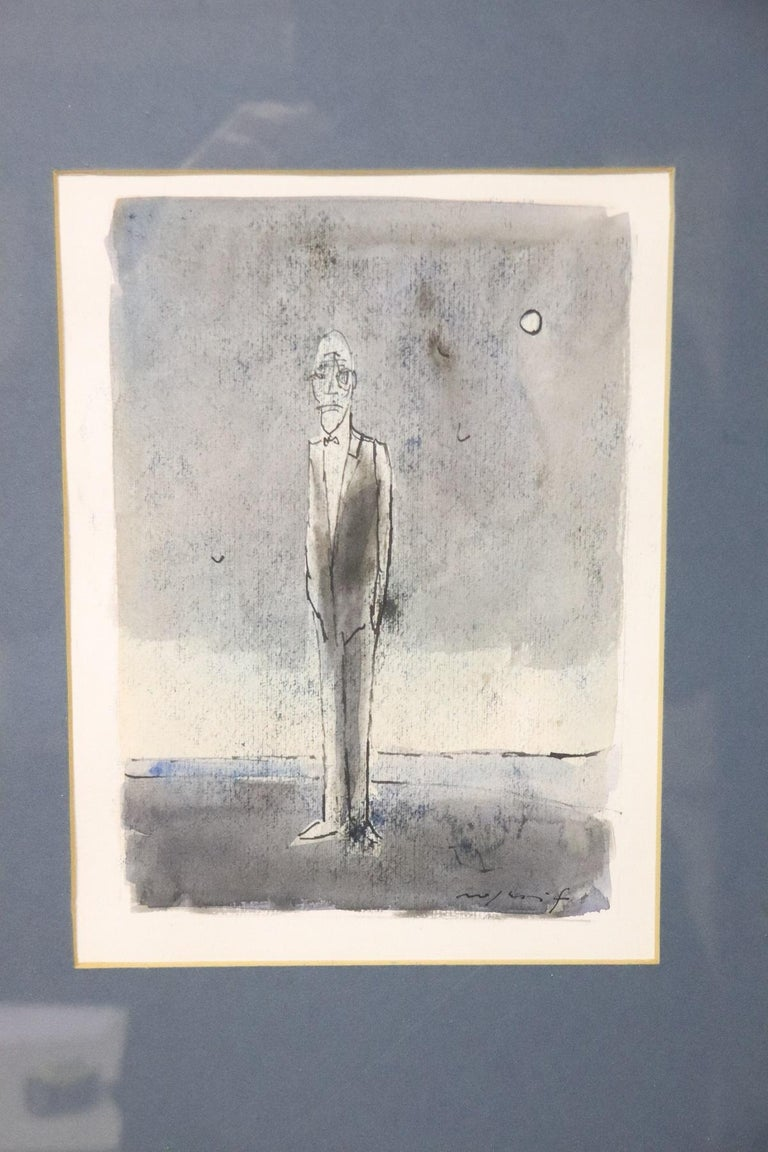 Beautiful tempera on paper 1960s by important Italian artist Franco Rognoni (Milan 1913-1999). Work signed and entitled