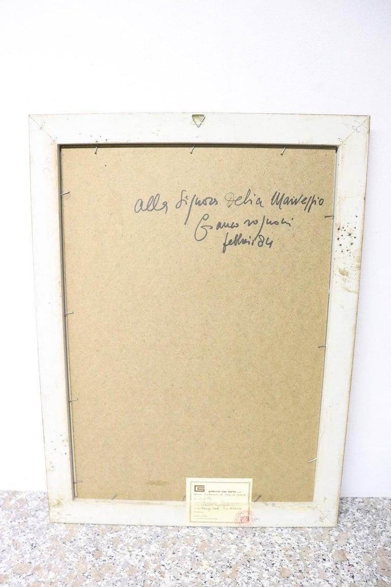 20th Century Italian Artist Tempera and Watercolor on Paper by Franco Rognoni In Excellent Condition For Sale In Bosco Marengo, IT