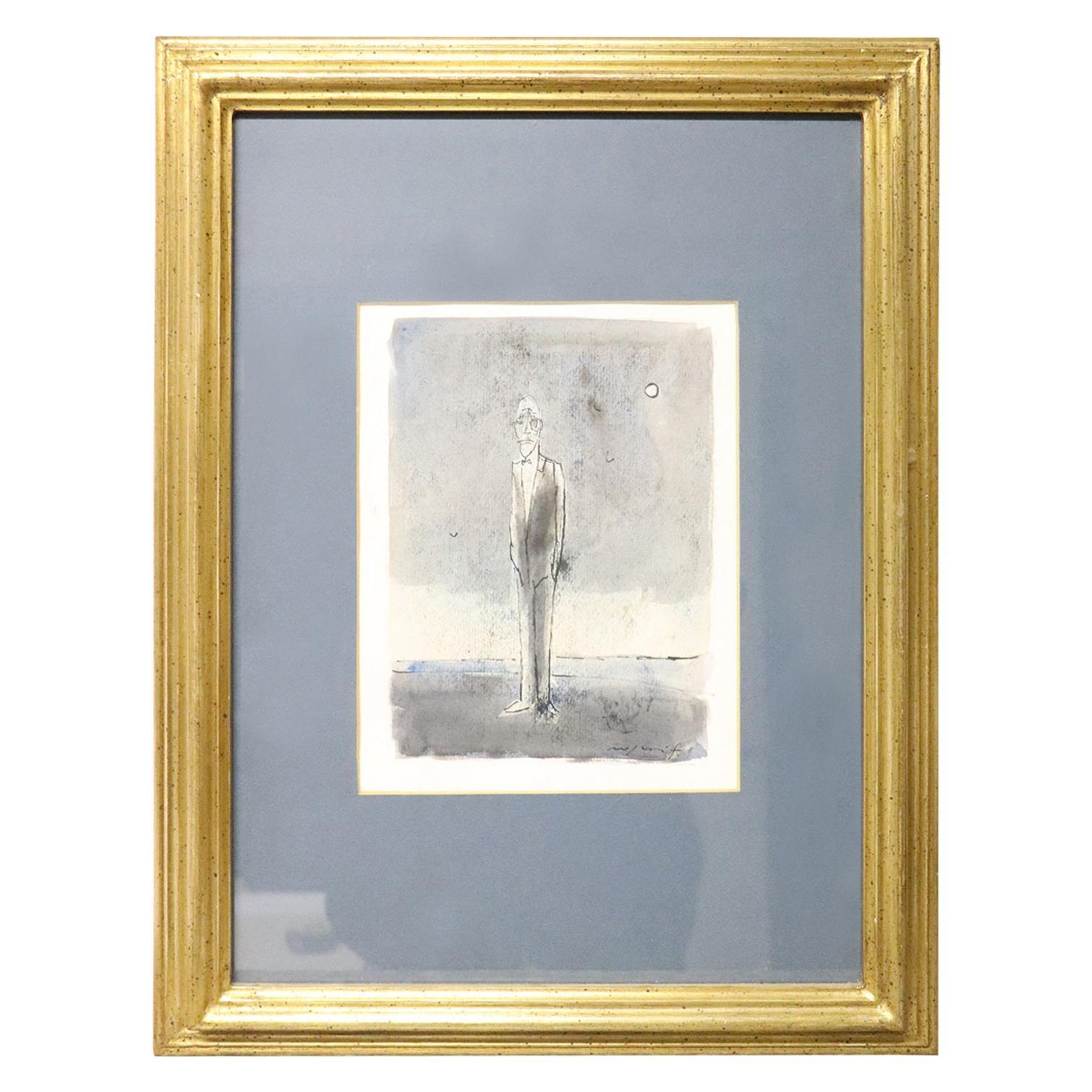 20th Century Italian Artist Tempera and Watercolor on Paper by Franco Rognoni
