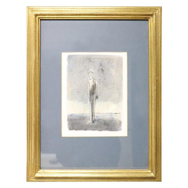 20th Century Italian Artist Tempera and Watercolor on Paper by Franco Rognoni For Sale