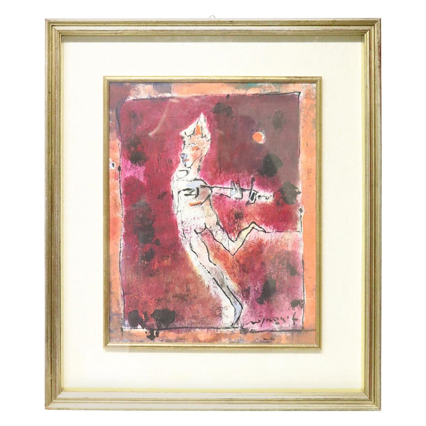 20th Century Italian Artist Tempera on Paper by Franco Rognoni