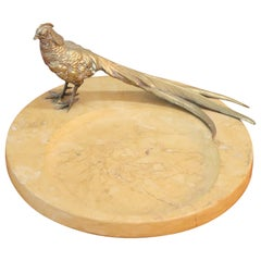 20th Century Italian Artistic Marble Plate with Gilded Bronze Bird Sculpture