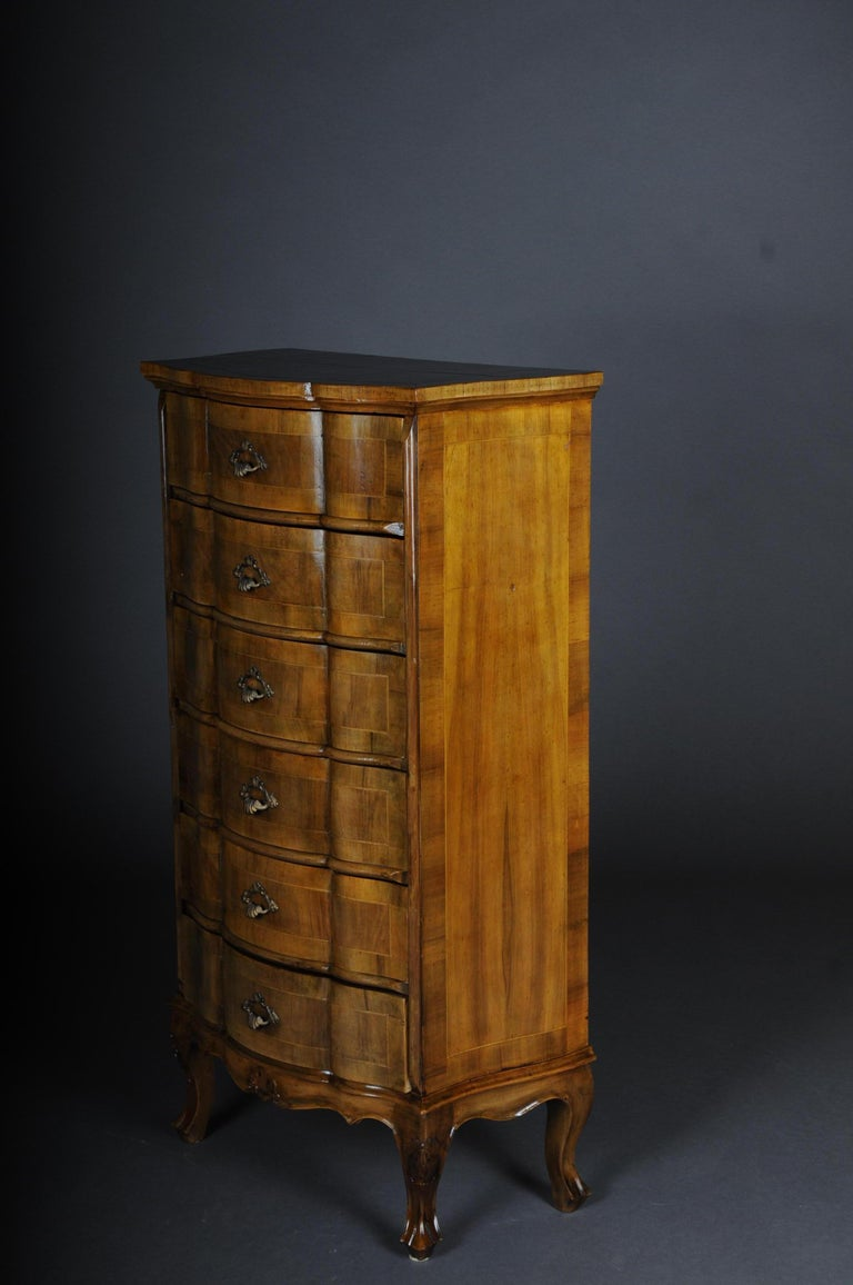 Walnut 20th Century Italian Baroque Chiffonniere/High Chest of Drawers For Sale