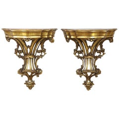 20th Century Italian Baroque Style Carved and Gilded Wood Pair of Nightstands