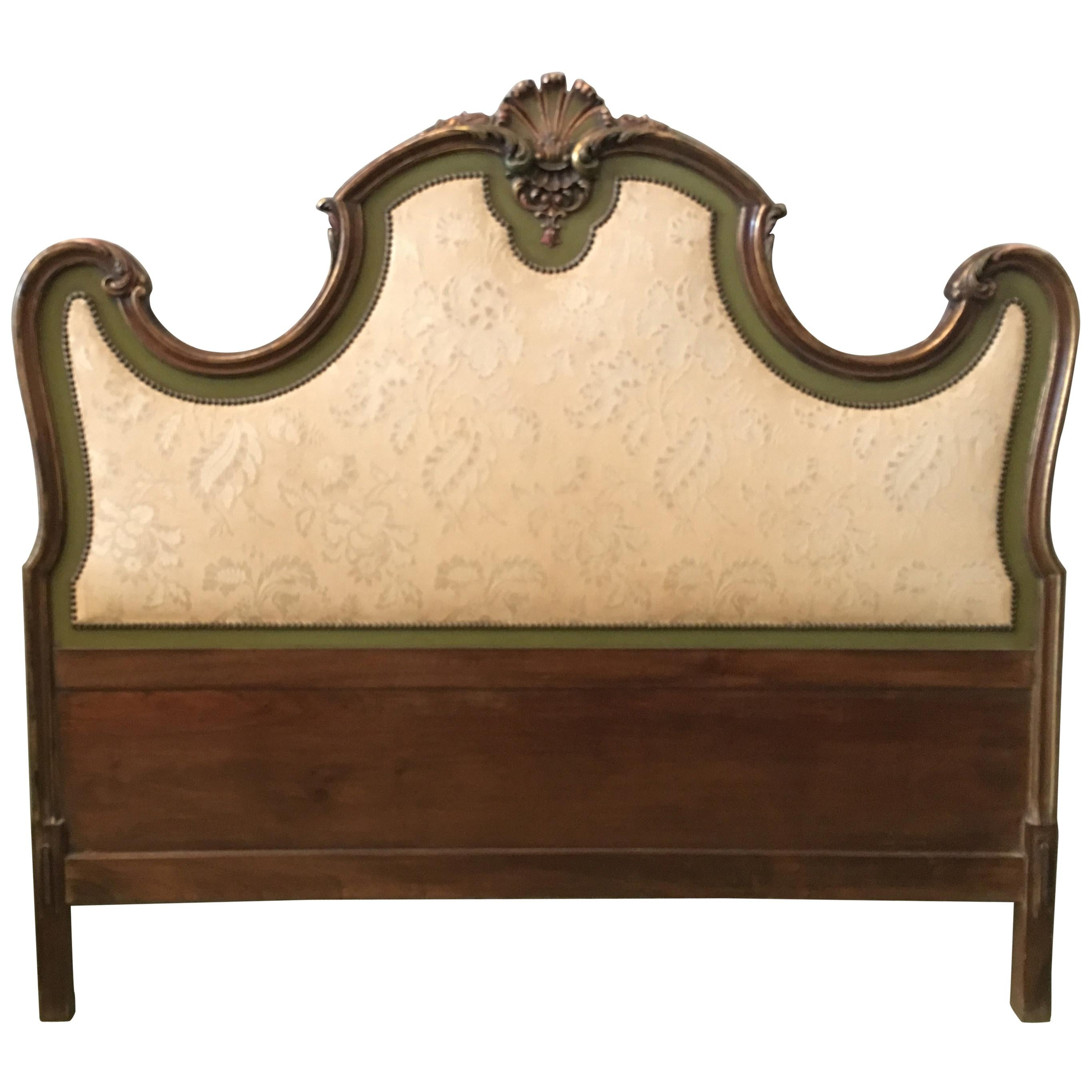 20th Century Italian Baroque Style Carved and Gilded Wood with Fabric Headboard