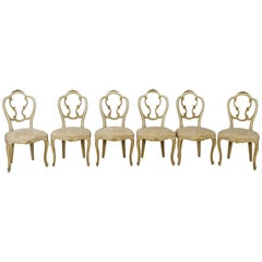 20th Century Italian Baroque Style Carved Lacquered Gilded Wood Six Chairs