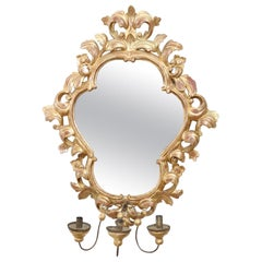 20th Century Italian Baroque Style Gilded Carved Wood Wall Mirror with Candle