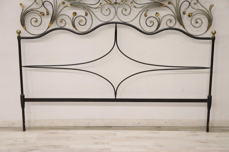 Louis XIV 20th Century Italian Baroque Style Gilded Wrought Iron Headboard For Sale