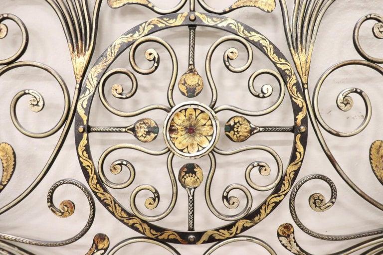 Gilt 20th Century Italian Baroque Style Gilded Wrought Iron Headboard For Sale