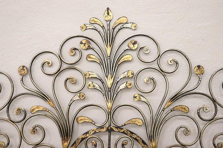 Mid-20th Century 20th Century Italian Baroque Style Gilded Wrought Iron Headboard For Sale