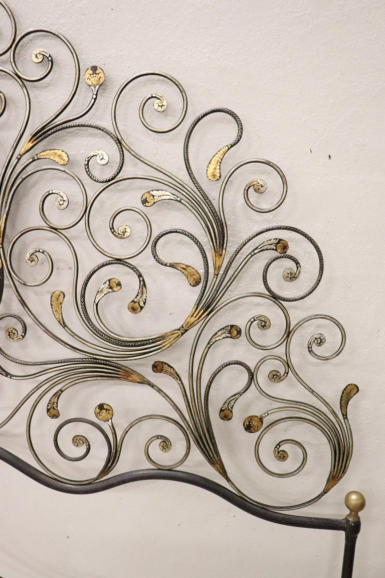 20th Century Italian Baroque Style Gilded Wrought Iron Headboard For Sale 1