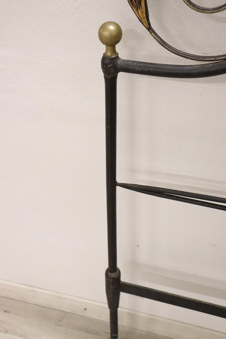 20th Century Italian Baroque Style Gilded Wrought Iron Headboard For Sale 3